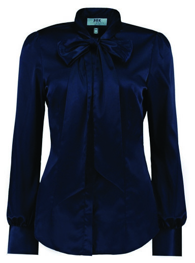 Navy blue satin blouse