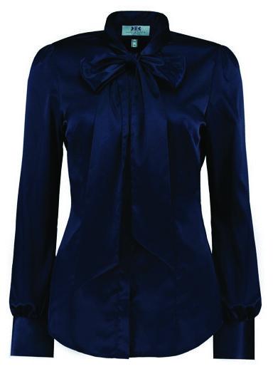 Navy blue satin blouse