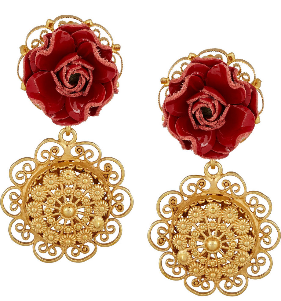 Dolce & Gabbana Sacro Curore Gold-Plated and Patent-Leather Clip Earrings