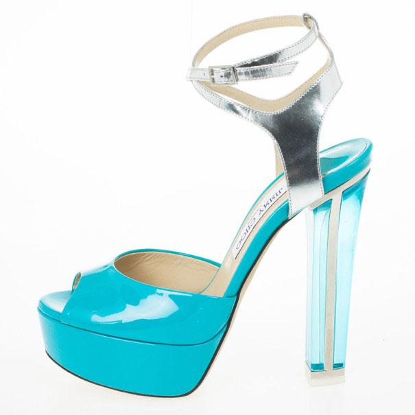 Jimmy Choo blue patent leather platform