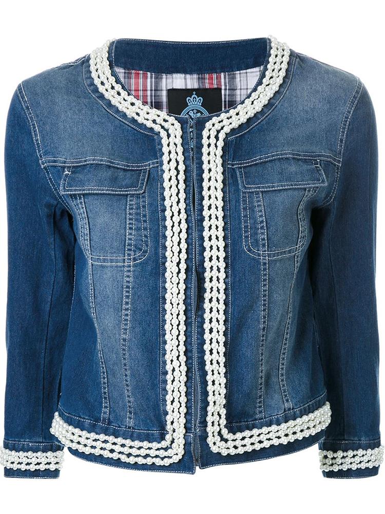 faux pearl trim denim jacket 4
