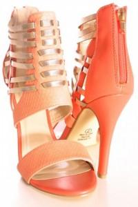 orange strappy sandals