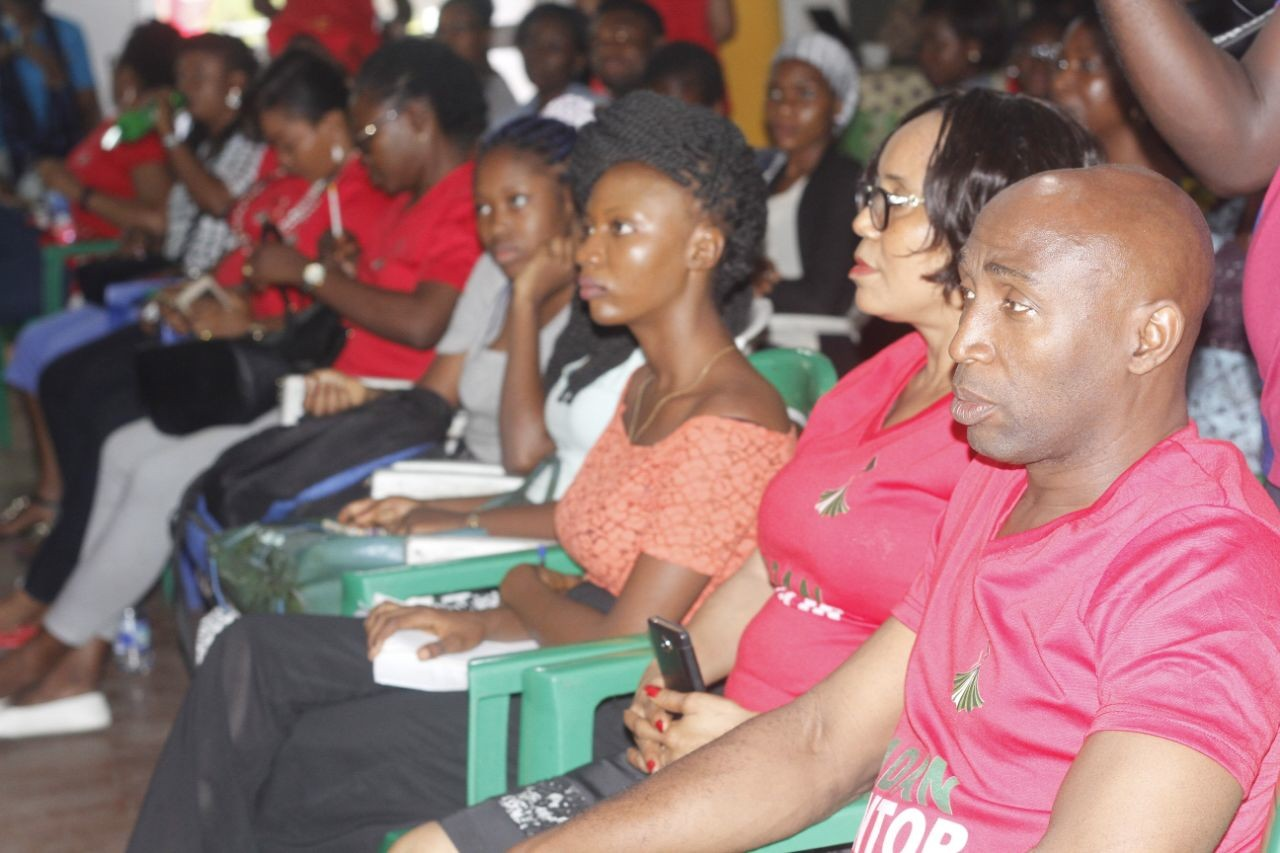 A cross section of participants with Bayo Adegbe and Mrs Awoh