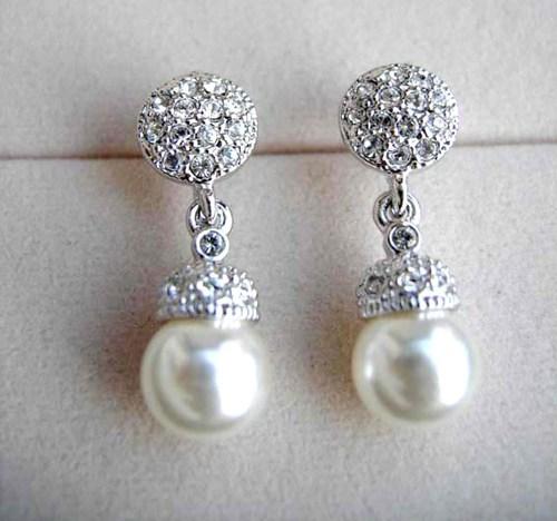 Classy Elegant Crystals White Pearl earrings