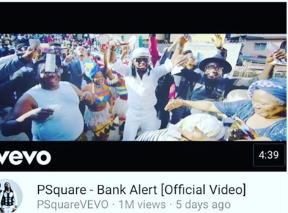 Musical duo, PSquare gets over 1Million Youtube views in
