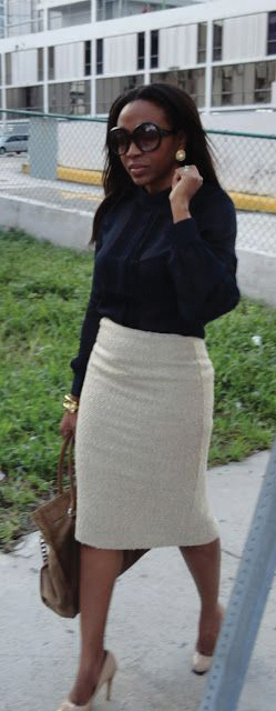 pencil-skirt-and-black-blouse