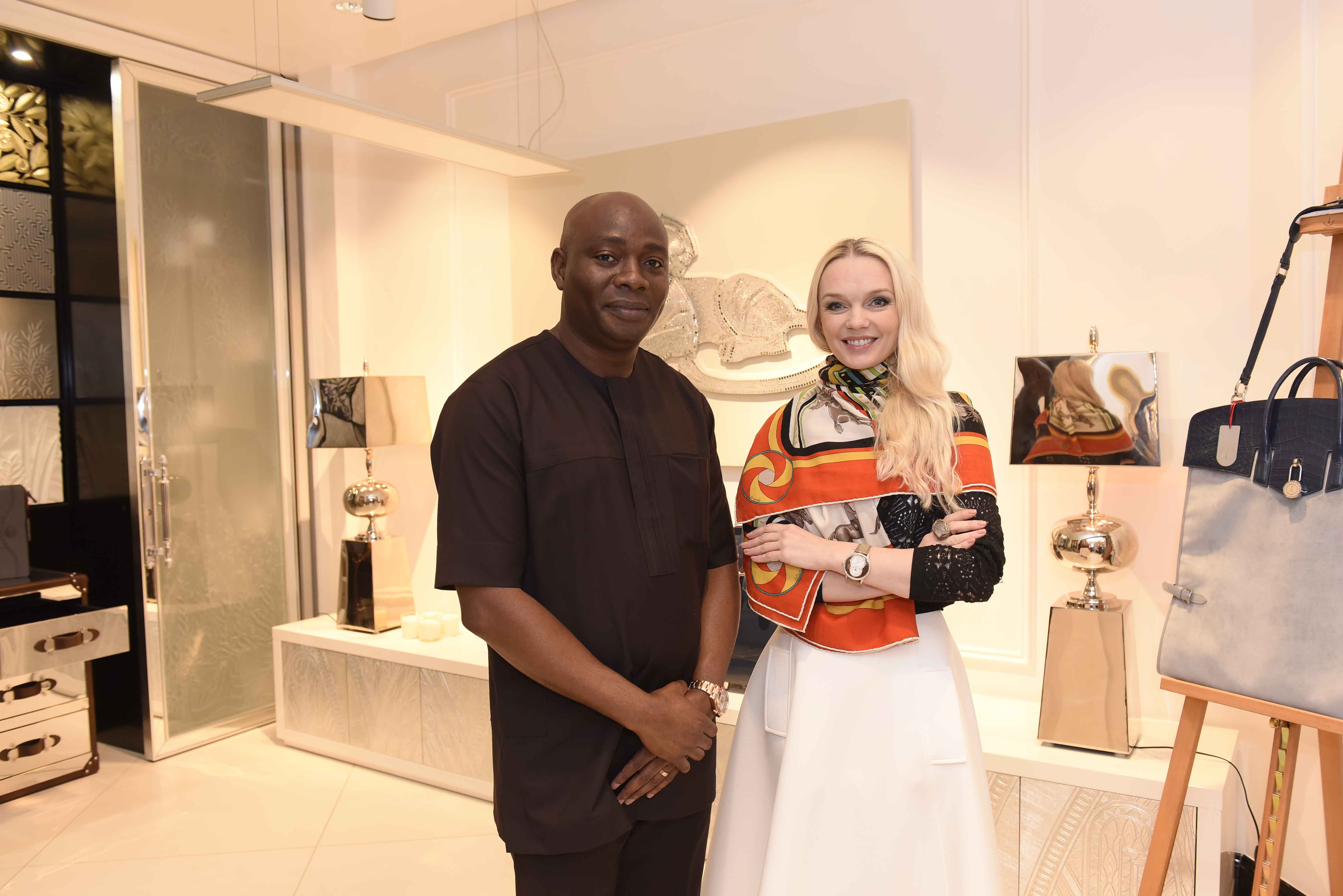 Michael-Owolabi-CEO-IL-Bagno-with-Julia-D.-Lantieri-CEO-Alter-Ego-Project-Group-at-grand-opening-of-Alter-Ego-Private-Atelier-Abuja