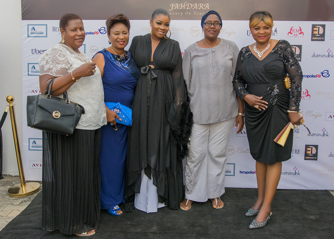 Mrs Adepoju flanked by the designer and friends