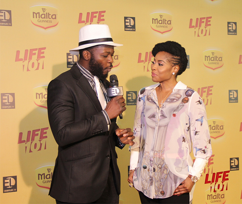 Tosin Odunfa interviewing Mo Abudu on the Yellow Carpet