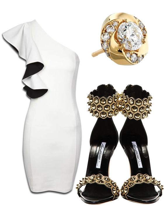 One Shoulder Monochrome Ruffle Dress, Atlantico Diamond Studs & Brian Artwood