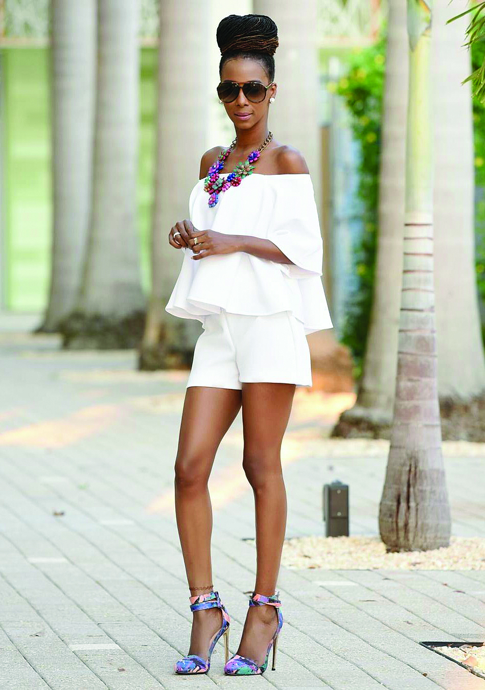 White Shorts And Off Shoulder Top