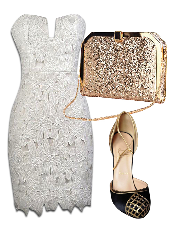 White Strapless Lace Dress, Gold Glitter Clutch Bag & Christian Louboutin Black Gold Heels