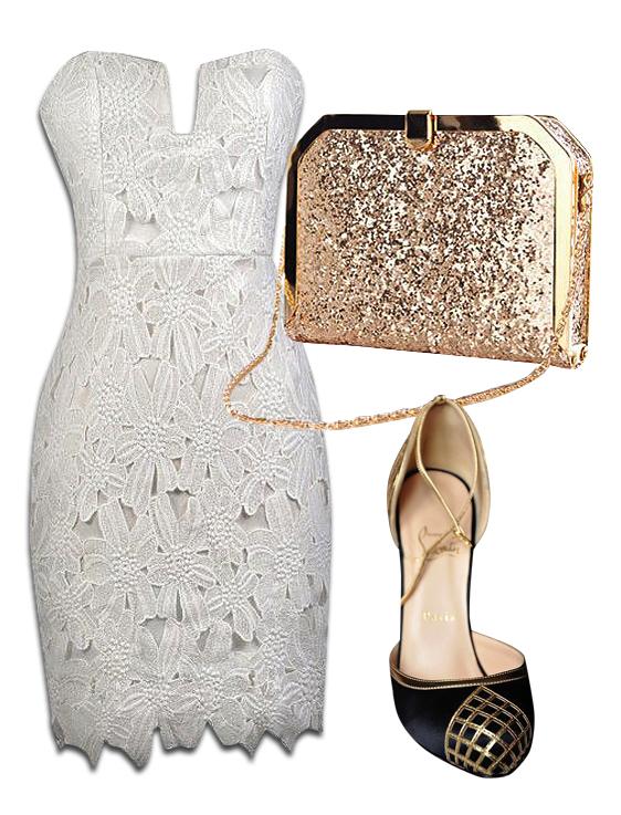 White Strapless Lace Dress, Gold Glitter Clutch Bag & Christian Louboutin Black Gold Heels