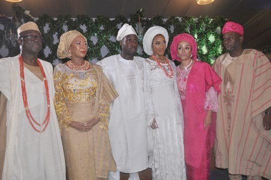 Otunba Niyi Adebayo, Erelu Angela Adebayo, Richard Adebayo, groom, his wife Reni, Mrs. Titilola Young, and Mr. Femi Young