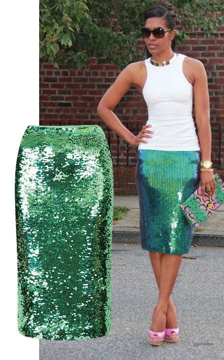 Sequin aSkirt-H & M sequin skirt, tank & clutch Casedei pumps