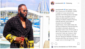 'Ladies, don't think marriage if you don't have up to N1m or $2000 - Joro Olumofin