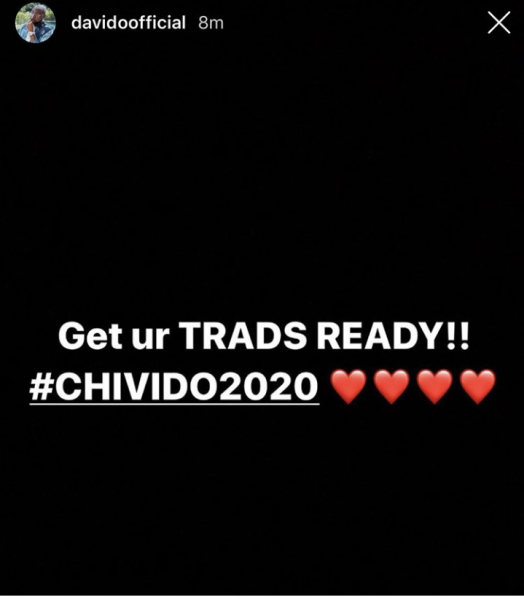 Davido announces wedding date to Chioma (Details)