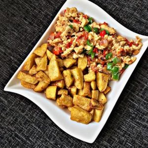 Plantain and fried eagg